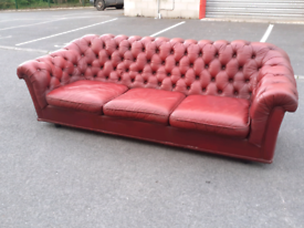 Red Leather Chesterfield 3 Seater Sofa