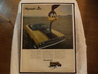 OLD PYLMOUTH CLASSIC CAR FRAMED ADS