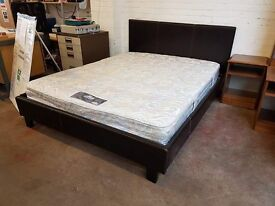 Black Leather kingsize bed frame with mattress only £ 90