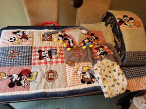 Vintage Mickey mouse sports crib set