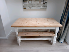 Solid painted pine farmhouse style table & 2 benches