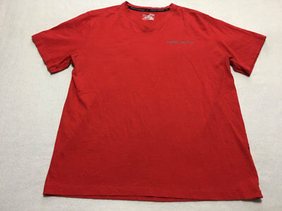 Under Armour Mens XL Extra Large Red Stripe Charged Cotton V Neck