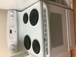 "GE white 30"" freestanding electric coil stove range oven"