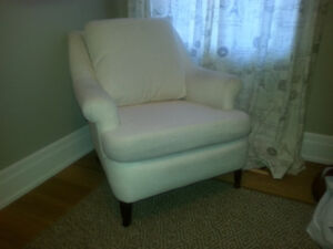 comfy easy chair ((white) with matching ottoman