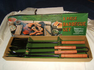 N.O.S - 3 pc. BBQ Set - BEECH WOOD Handles - Japan