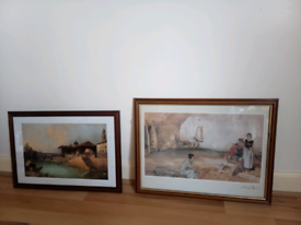William Flint print and photo of another painting in