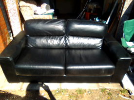 Two seater black leather