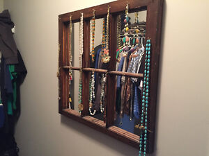 Vintage barn window mirror with hooks for jewelry/keys
