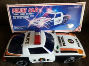1980s Battery Operated Police car,lights up-sirens,CIB