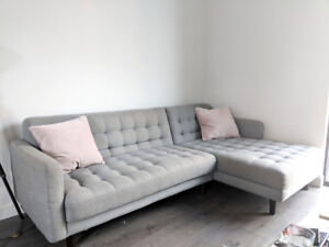 Light Grey Sectional tufted sofa from Urban Barn