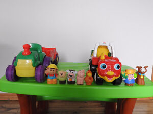 2  Little People Farm Tractor Playsets