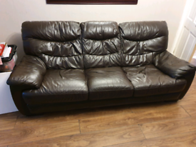 2× 3seaters leather sofas