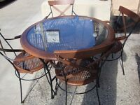 WROTH IRON - WOOD CANED TABLE & 4 CHAIRS VERY NICE!!!