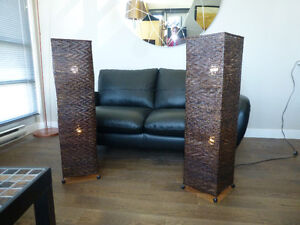 Pair of wicker floor lamps