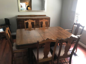 Dining Set 1930's, Wood cook stove, lighting