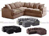 **7-DAY MONEY BACK GUARANTEE!!** SALE! Jamba Jumbo Fabric Corner Sofa or 3 and 2 Sofa Set -SAME DAY!