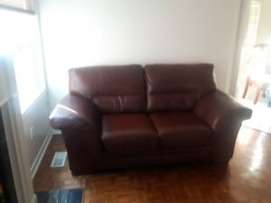High-end leather loveseat and chair. Excellent condition