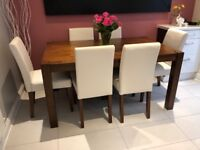 Walnut finish dining table and 6 dining chairs