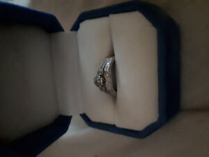 Engagement ring and band, white gold,