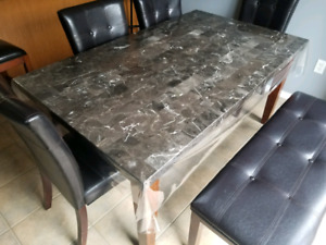 Marble Table - 4 Chairs & Bench - Excellent Condition