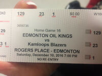 December 10th Oil Kings game 5 tickets