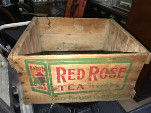 RARE VINTAGE RED ROSE TEA WOOD CRATE WOODEN STENCILLED