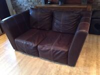 Quality Genuine Leather 2 Seater Sofa Good Condition