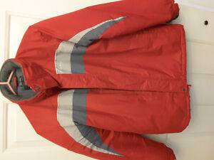 BOYS RED SKI JACKET/GREY SNOW PANTS -GREAT CONDITION.
