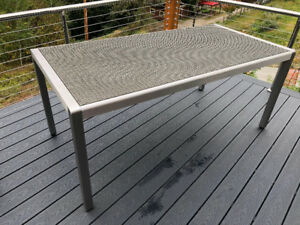 Outdoor Rectangle Aluminum Dining Table w/ Resin Wicker Top