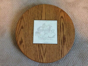 Rotating Solid Oak Cheese Platter