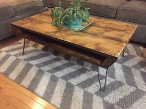 Reclaimed Wood Vintage Style Coffee Table on Hairpin Legs