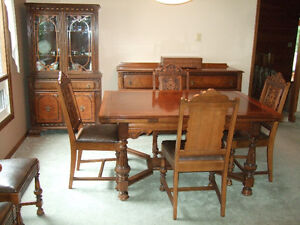 DINING TABLE AND BUFFET SET and china cabinet