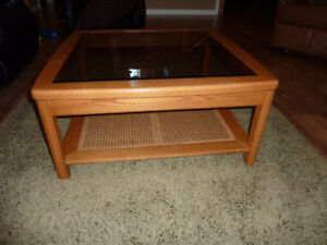 GLASS TOP WOOD COFFEE AND 2 END TABLES