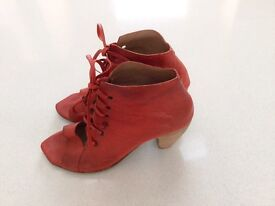 Red leather sandals size 39