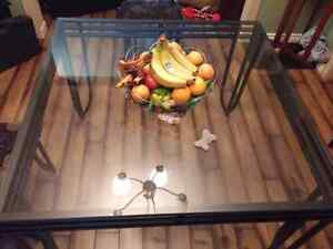 Black metal glass dining table