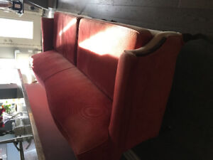 Velvet to touch - long antique like - originally red couch.
