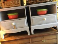 BEDSIDE CABINETS PAIR PAINTED FRENCH GREY STAG MINSTREL