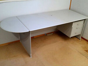 Long Ikea Desk with 3 Drawer Cabinet