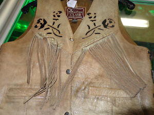 Ladies Bristol leather vest- med.  recycledgear.ca