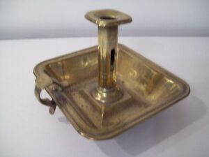 ANTIQUE BRASS CANDLE STCK CHAMBER STICK