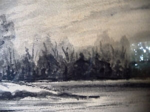 "Original Northern Landscape Watercolor by K.Rooney  ""Shoreline"" Stratford Kitchener Area image 4"