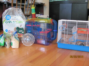 Gerbil with cages and accessories