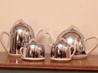 """""""Celtic Beehive"""" Coffee / Tea Set - Bakelite Ceramic with Lined Chrome Covers - 1950's"""