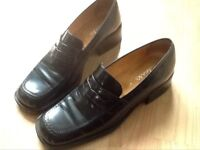Ladies Clarks slip on black shoes size 5