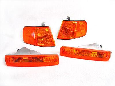 COMBO DEPO USDM Amber Corner + Bumper Signal Lights For 1990-1991 Honda CRX CR-X