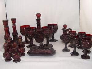 Vintage 21 Pcs 1876 Avon Red Ruby Cape Cod Set Dishes