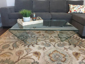 Coffee Table with Clear Glass