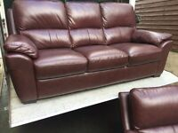 Harveys chestnut brown leather 3 & 1 sofas - mint cond - can deliver