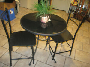 2 chair glass table set