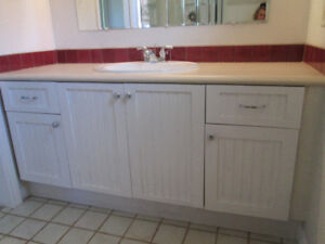 Bathroom cabinets with countertop, sink and faucet